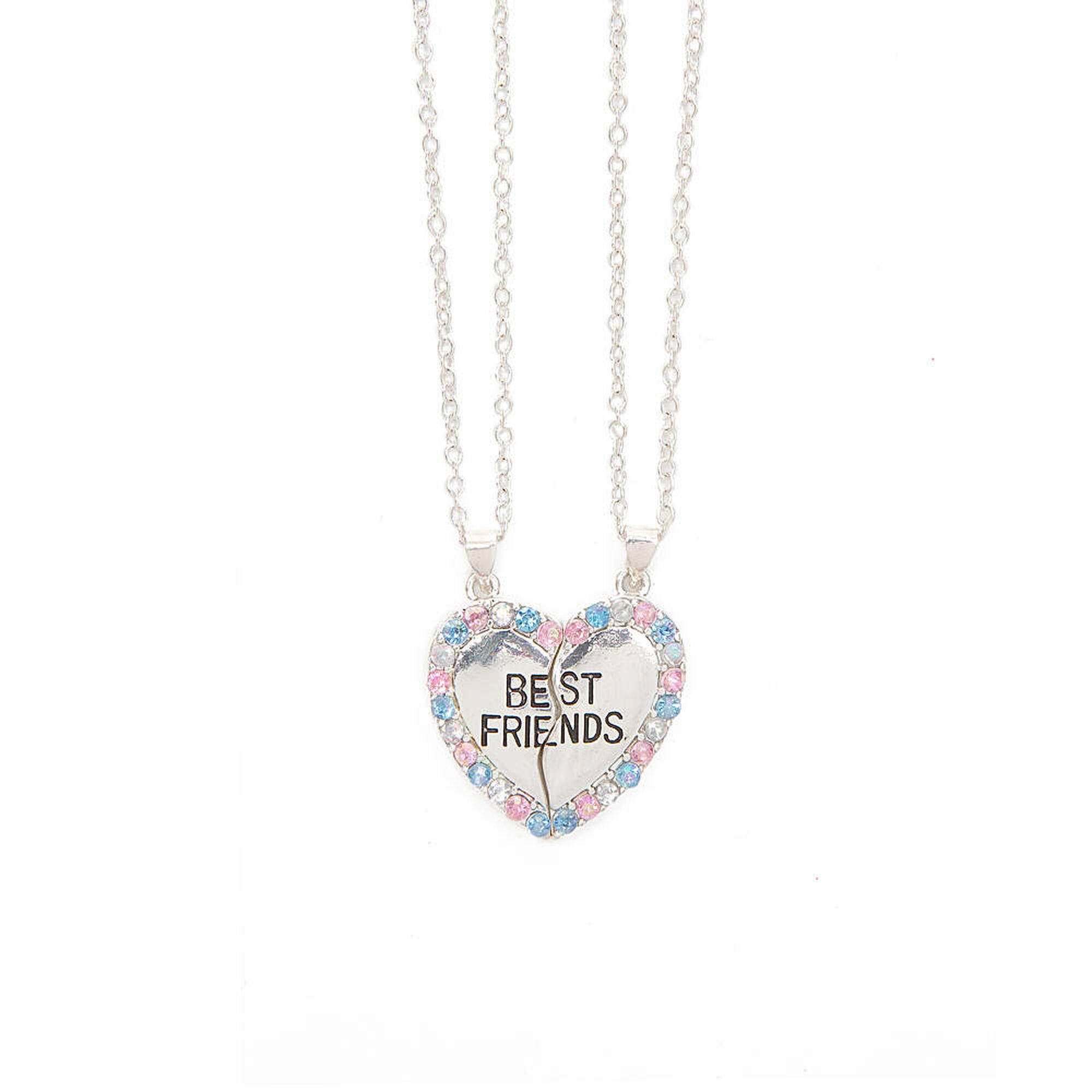 best friends crystal outline heart pendant necklaces claire u0027s us