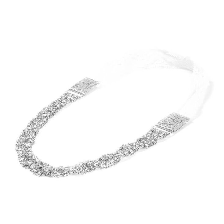 Braided Beaded Silver and Rhinestone Chain Headwrap,