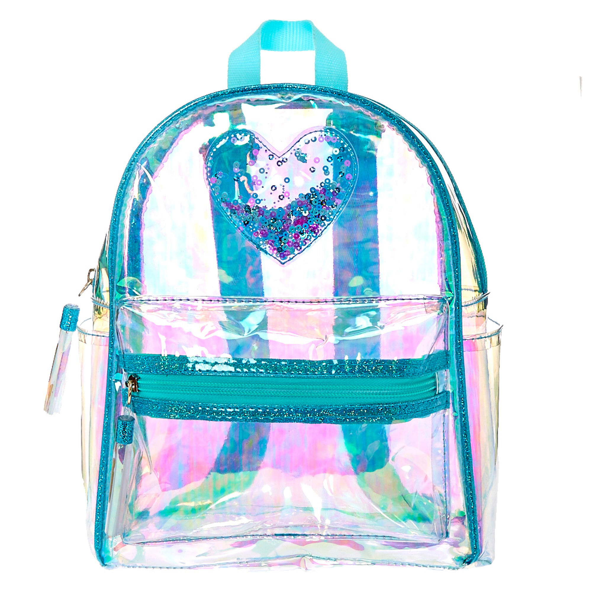 clear iridescent mint mini backpack claires us