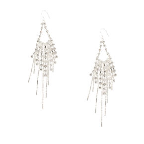 Crystal Chain Triangles with Graduated Beaded Silver and Crystal Fringe Drop Earrings,