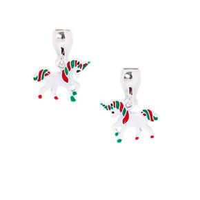 Christmas Unicorn Clip-on Drop Earrings,