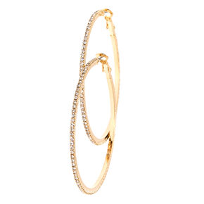Tiny Crystal Studded Gold-tone Hoop Earrings,