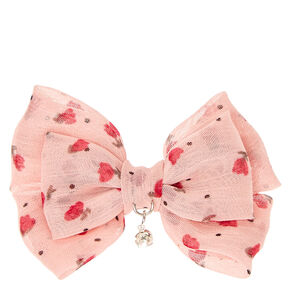 Mini Pink Floral Double Bow Hair Clip,