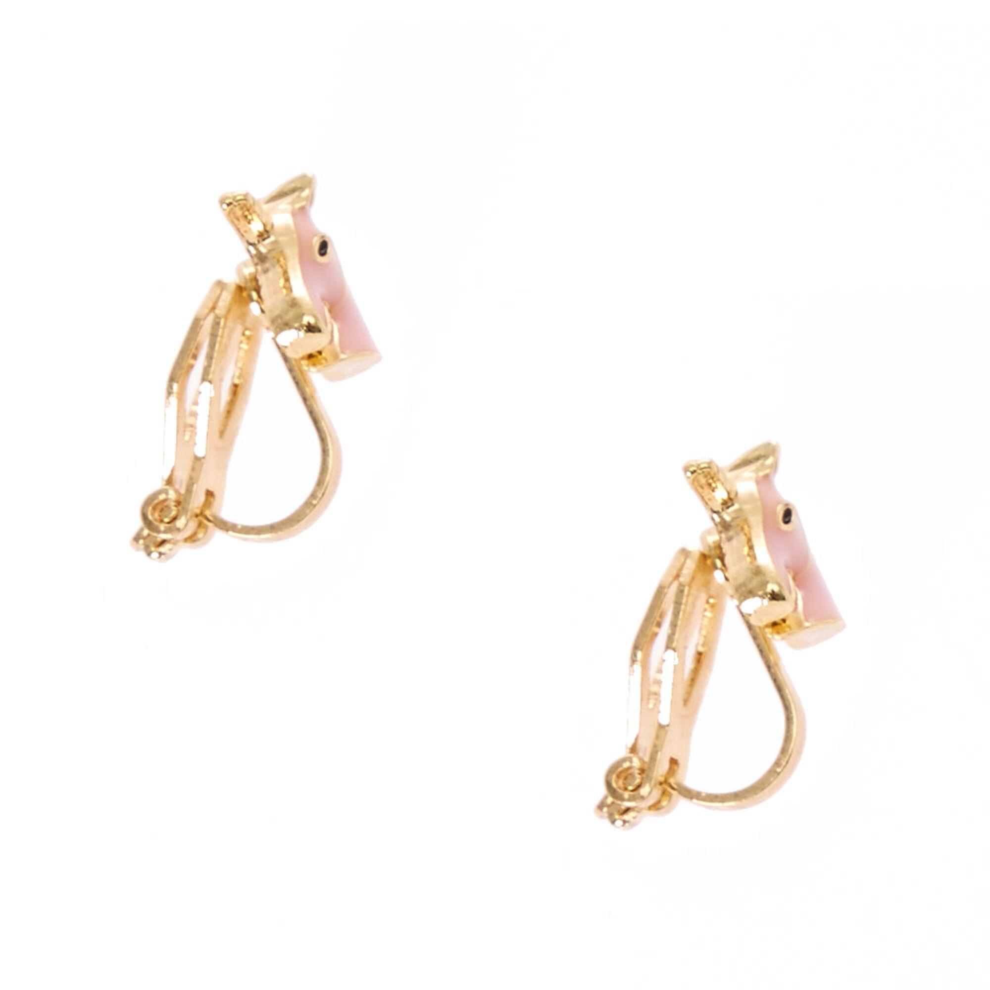 Pink Unicorn Clip On Earrings,