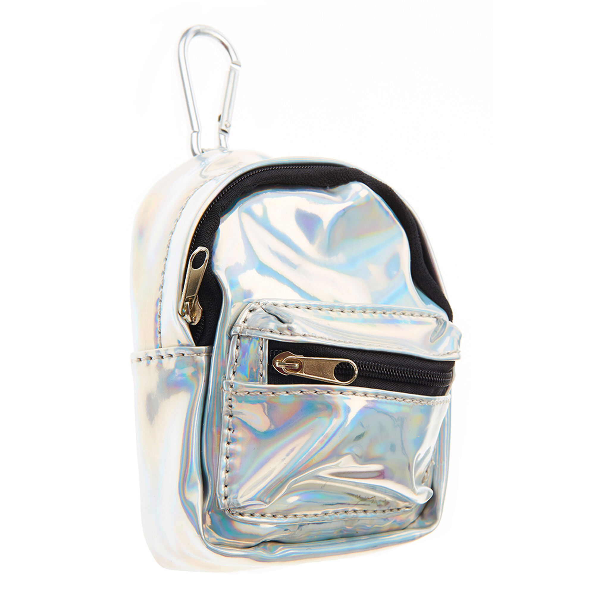silver holographic mini backpack purse keyring claire 39 s. Black Bedroom Furniture Sets. Home Design Ideas