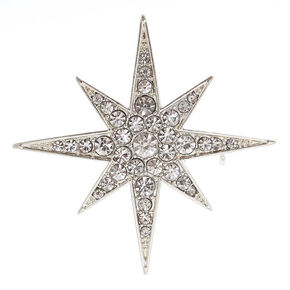 Silver-tone Starburst Brooch Pin,