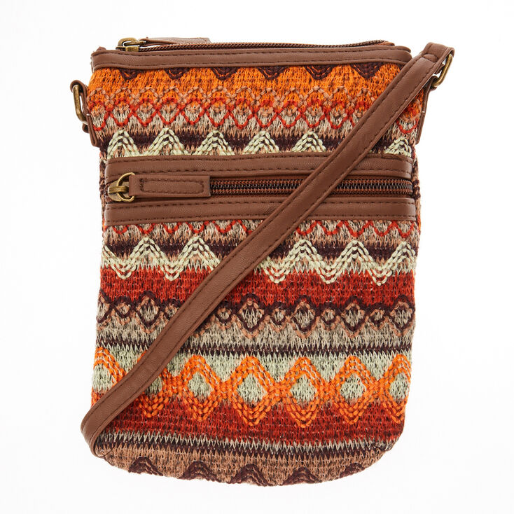 Tribal Embroidered Brown Cross Body Bag,