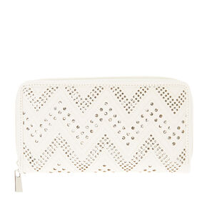 White Faux Leather and Metallic Perforated Printed Wallet,