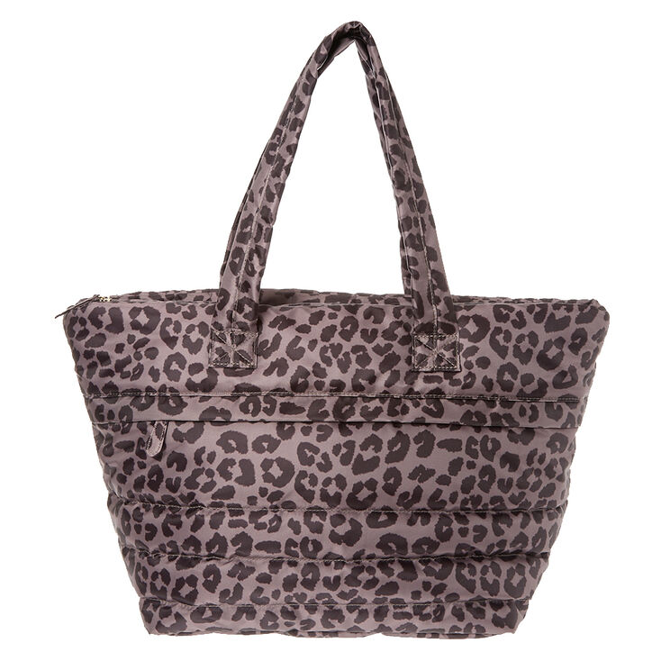Black & Lilac Leopard Print Jumbo Tote at Icing in Victor, NY | Tuggl