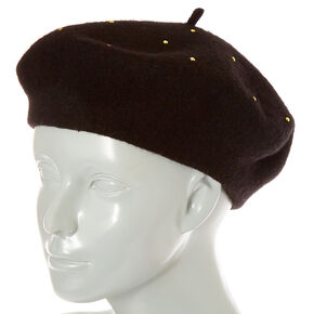Black Studded Wool Beret,