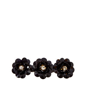 Black Beaded Flower Hair Barrette,