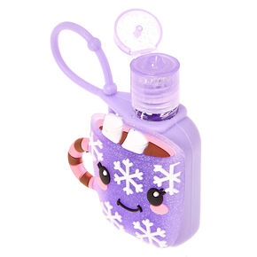 Glittery Purple Hot Cocoa Holder with Anti-Bacterial Hand Sanitizer,