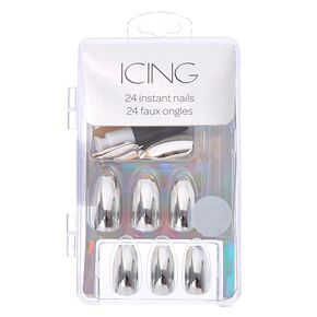 Silver Chrome Faux Nails,