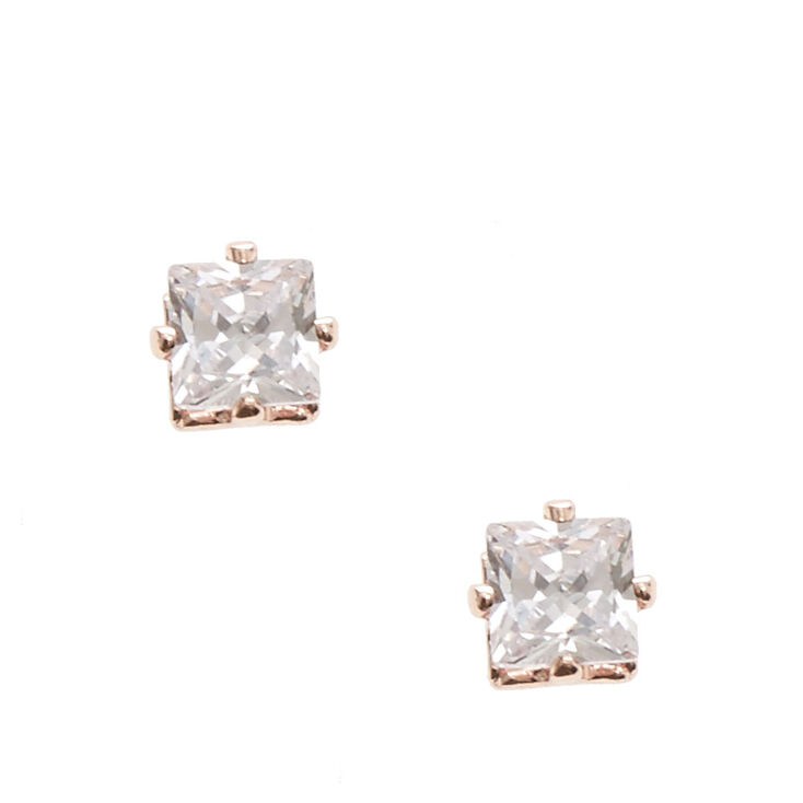 Rose Gold-tone Framed Square Cut Cubic Zirconia Stud Magnetic Earrings,