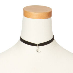 Black Velvet Choker with Silver Moon Pendant,
