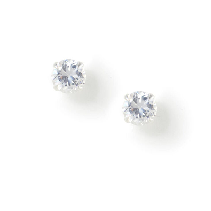 Sterling Silver Mini Cubic Zirconia Stud Earrings,