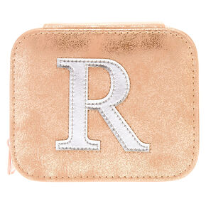 "Blush Pink ""R"" Initial Jewelry Case,"