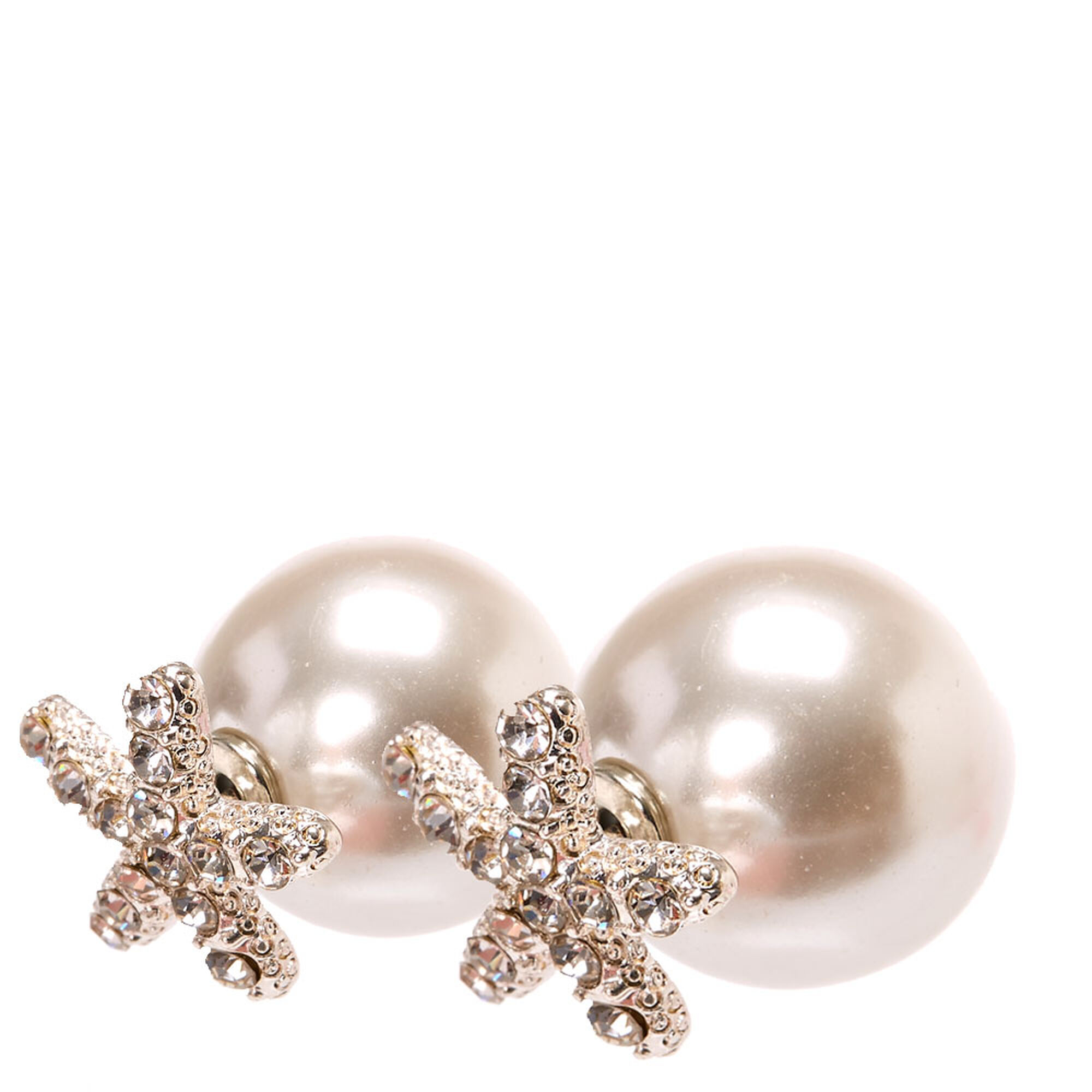 Crystal Faux Starfish And White Faux Pearl Front And Back Stud Earrings,