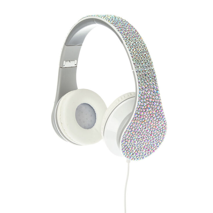 Iridescent Rhinestone Bling Foldable Headphones,