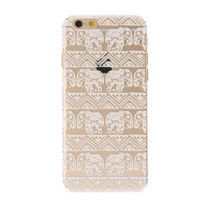 Clear White Elephant Pattern Phone Case,