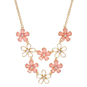 Gold-Tone Blush Flowers Necklace,