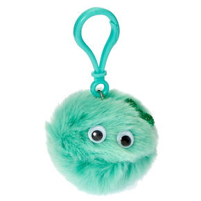 Mint Green Googly Eyed Pom Keyring Clip Flavored Lip Gloss,