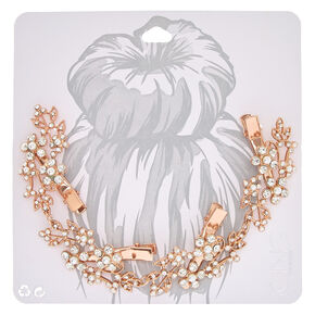 Rose Gold-tone Faux Crystal and Pearl Flower Decorative Hair Swag,