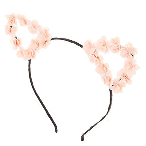 Light Pink Floral Cat Ears Headband,