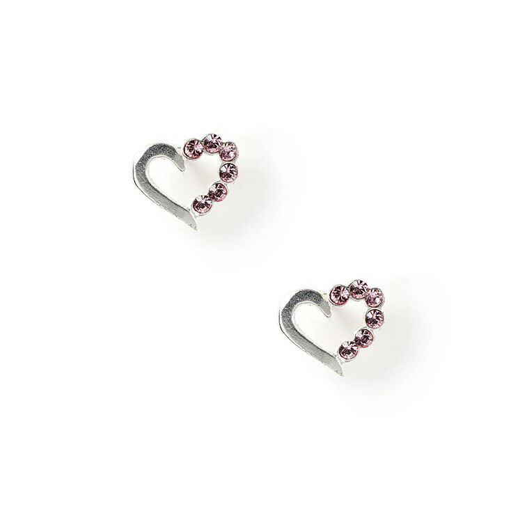 Sterling Silver and Crystal Heart Stud Earrings,