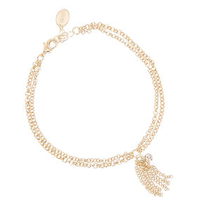 Gold Toned Two Chain Fringe Anklet,