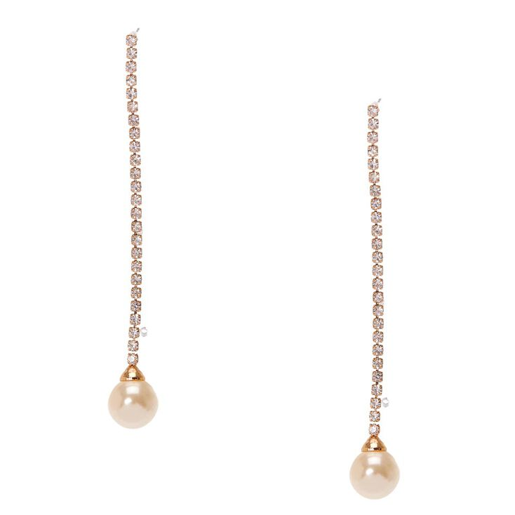 Gold-tone Linear Ivory Pearl Drop Earrings,
