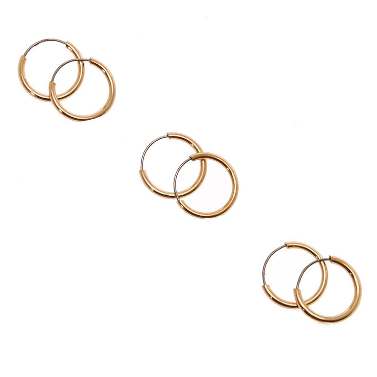 10mm Gold-tone Skinny Hoop Earrings,