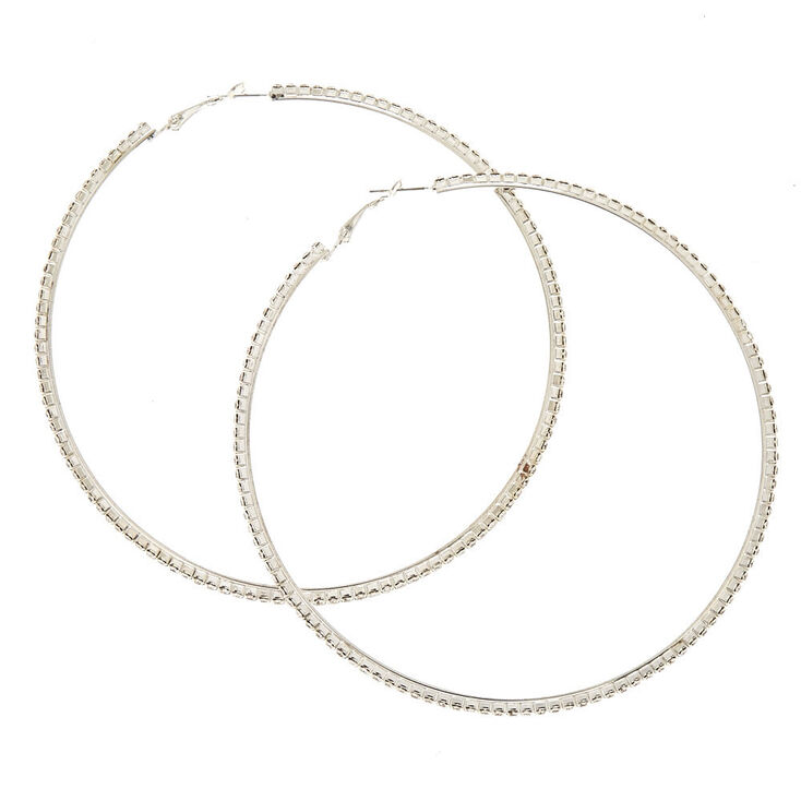 100MM Faux Crystal Lined Silver-tone Hoop Earrings,