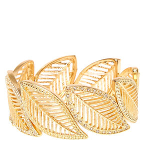 Gold Glitter Feather Stretch Bracelet,