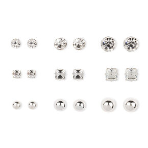 Silver-tone Ball and Glass Stone Stud Earrings,