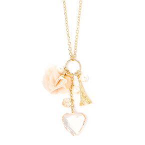 Gold Eiffel Tower and Chiffon Flower Charms Pendant Necklace,