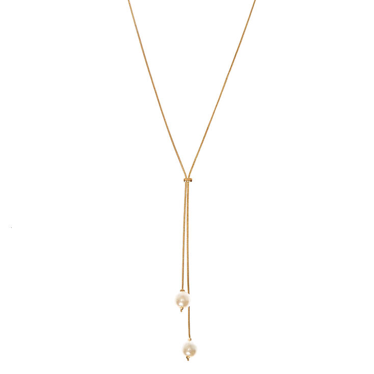 Gold-Tone Long Thin Necklace with Pearls Gold-Tone Long Thin Necklace with Pearls,