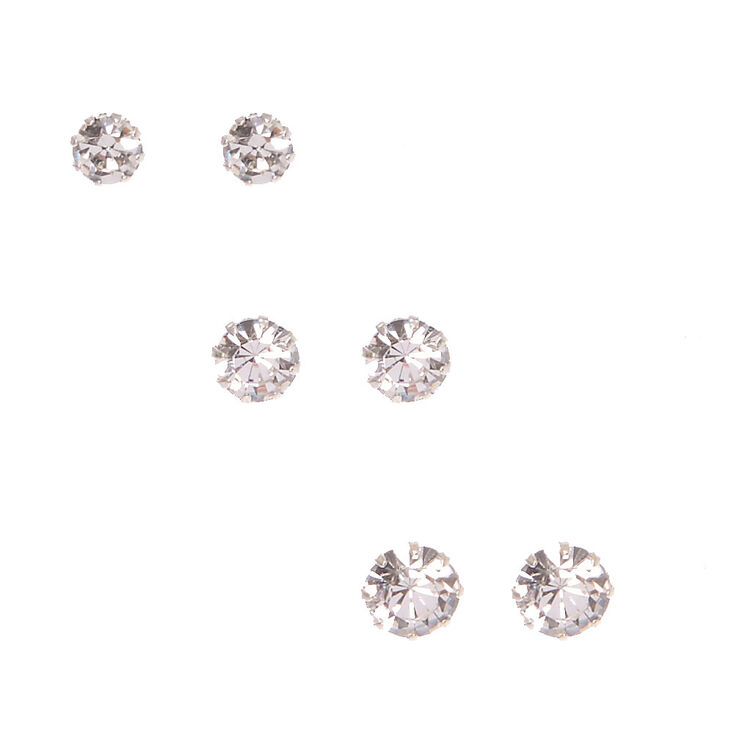 Silver-tone Framed Graduated Round  Crystal Stud Earrings,