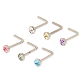 20G Bend to Fit Clear and Pastel Crystal Nose Studs Set of 6,