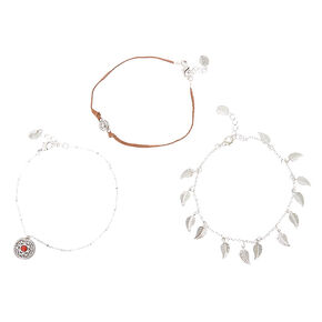 Three Piece Silver Accent Feather Anklets,