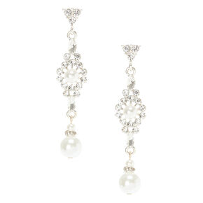 Crystal and White Pearl Drop Earrings,