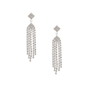 Vintage Rhinestone Diamond and Fringe Drop Earrings,