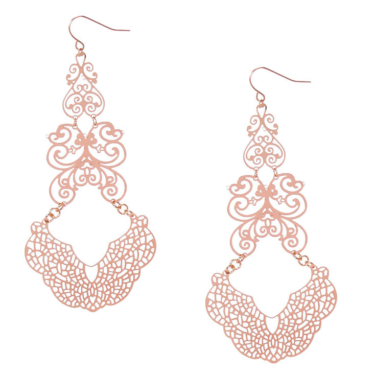 Rose Gold-Tone Filigree Drop Earrings,