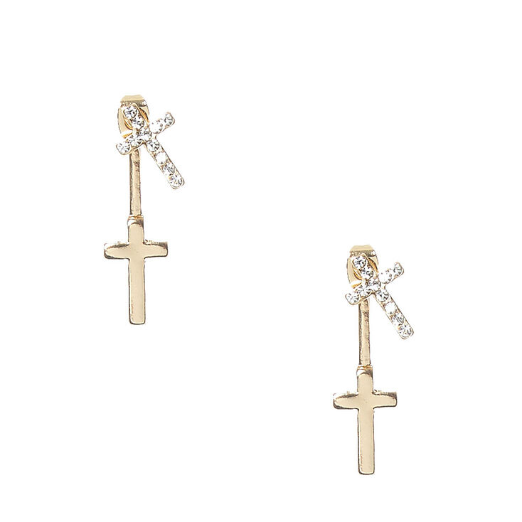 Gold-tone Double Cross Front and Back Earrings,
