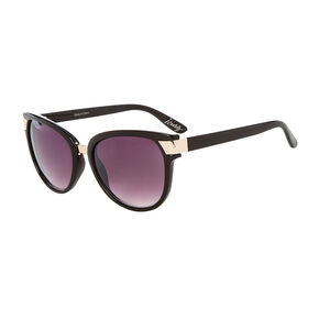 Black with Gold Accents Round Sunglasses,