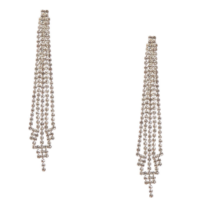 Clear Faux Crystal Skyscraper Drop Earrings,