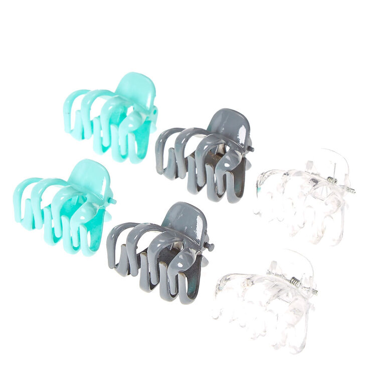 Mint, Gray, and Clear Mini Hair Claws,
