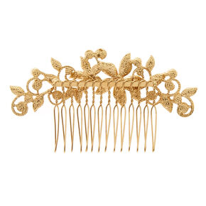 Gold-tone Ivory Faux Pearl Floral Hair Comb,