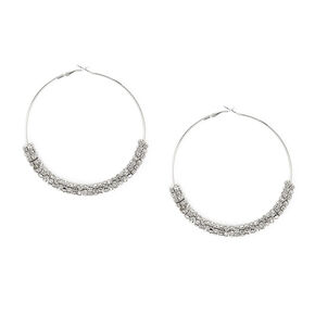 80MM Silver and Crystal Eternity Ring Hoop Earrings,