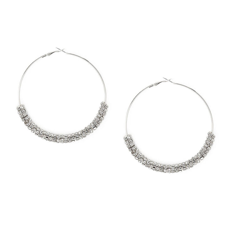 80MM Silver and Crystal Eternity Ring Hoop Earrings,